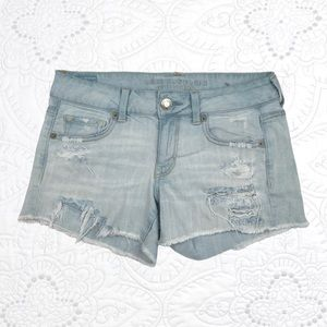 American Eagle LightWash Distressed Stretch Shorts
